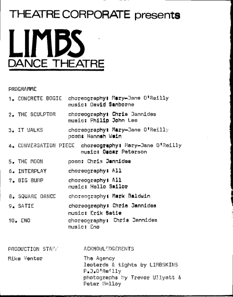 limbs programme @ theatre corporate page 1